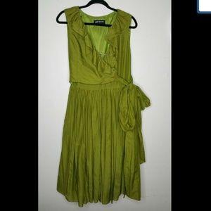 NEW Jones New York Green Ruffle Wrap Dress Size 8